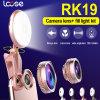 2017 universal 2 en 1 linterna del anillo de Selfie con la luz de destello de la lente de Fisheye LED Selfie (RK19)