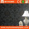 Diseño floral profundamente realzado del negro del papel de empapelar