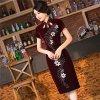 Сбор винограда Cheongsam платья китайского бархата шариков способа Handmade длиннее