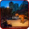 Traje del dinosaurio del juego realista realista del rapaz que recorre
