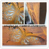 Grande decorazione della parete della casella chiara della ruggine della farfalla del taglio del laser (GAR-005)