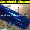 Película brillante azul del vinilo del espejo del cromo