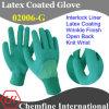 Зеленый блокировки перчатки с темно-зелеными латекса морщин Half покрытия & Open Back & вязать запястье