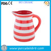 Vermelho e White Striated Huge Ceramic Water Jug
