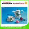 Concevoir le jeu de thé en céramique de théière d'étiquette avec la cuvette