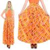 De in het groot Sleeveless Oranje Geometrische MaxiKimono/Kaftan van Vrouwen (A957)