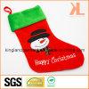 Qualitätsstickerei-/Applique-Samt-glückliches WeihnachtsSchneemann-Art-Strumpf für Dekoration