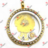 Floating Charms Round Glass Locket Pendant Necklace (FL112)のための乾燥したFlower Charms