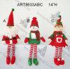14  decoración del duende Sitter-3asst-Christmas del muñeco de nieve de H Santa