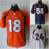 Usura bianca arancione di football americano del Bailey Blue Von Miller del campione di Peyton Manning limitata cavallo selvaggio Jersey