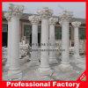 Columna de mármol blanca tallada mano para la decoración casera