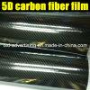 Пленка волокна углерода 5D пузыря свободно лоснистая черная
