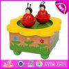 Caja de música de madera decorativa al por mayor del carrusel para los cabritos, juguete de madera W07b027 de la música del carrusel hermoso superventas