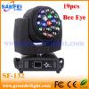 Diodo emissor de luz Beam Moving Head Lighting de Eye 19PCS 15W da abelha