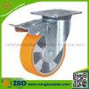 Roulette industrielle de double de frein polyuréthane en aluminium de noyau