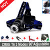 Um diodo emissor de luz ajustado Headlamp+Charger+Batteries do CREE T6