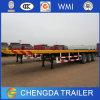 La cama plana camión remolque de 20 pies de superficie plana Container Semirremolque