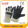 Перчатки черного ПВХ пунктир промышленной безопасности работы (41016)