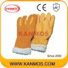 黄色い革靴の暖かい冬の産業安全のミトン手作業手袋(12308)