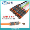 Nuevo precio de fábrica de la llegada 2016 2 en 1 cable bilateral del USB del metal en una pista con dos funciones para el móvil del androide y del iPhone