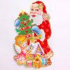 Etiquetas engomadas modificadas para requisitos particulares de la ventana del ornamento de la Navidad del sellado de oro de 3D Papá Noel