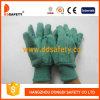 황금 녹색 잡일 장갑에 의하여 뜨개질을 하는 손목 안전 장갑 (DCD104)