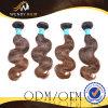 焦茶カラーインドボディ波の人間の毛髪の織り方