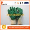 Crinkle латекса перчаток хлопка Ddsafety перчатки 2017 зеленого законченный с открытым назад