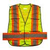 Veste reflexiva da segurança da visibilidade elevada de néon do bolso de Velcro do engranzamento (YKY2851)