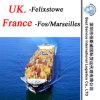 Serviço Felixtowe do agente de transporte (Reino Unido); Fos/Marselha (France) - expedição do recipiente