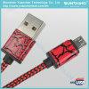 Cable trenzado de nylon del cargador del cable de datos del USB del micr3ofono para el androide