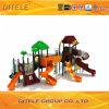 equipo al aire libre de madera plástico lujoso colorido galvanizado 127m m del patio de los niños de la diapositiva de la azotea y del tubo del poste