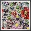Bordado bordado flor do engranzamento do laço com laço floral do bordado das flores