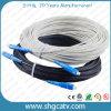 Cable óptico de la cuerda de corrección de la fibra de Embeded FTTH de la alta calidad con los conectores de Sc/Upc