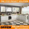Cabinas de cocina de madera del PVC E0 de Oppein de la venta al por mayor blanca moderna de la L-Dimensión de una variable (OP15-054)
