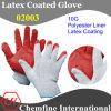 10g белый полиэстер / хлопок трикотажные перчатки с красной латекса морщин покрытия