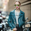 Mode Skinny Lapel Femmes Manteau PU Leather Ladies Jacket