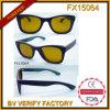 Lunettes de soleil en bois de l'objectif Fx15064 de panneau jaune de patin avec la marque faite sur commande