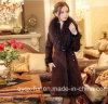 自由な出荷の毛皮の一つの女性2014媒体長い本革の衣類の毛皮のコートの女性のオーバーコート