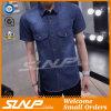 インディゴカラー不足分は100%年の綿の人のワイシャツにスリーブを付ける