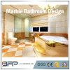Decorazione domestica - parte superiore del banco di vanità della stanza da bagno, pavimentazione & mattonelle di marmo della parete