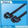 Band van de Kabel van het Roestvrij staal van het Type van Releaseable de Plastiek Bespoten