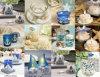 Vela temático da praia & favores claros tabela do casamento do chá & decorações da cerimónia