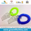 Silbido verde/azul plástico de Keychain W/Transparent de la bobina de la muñeca para alertar