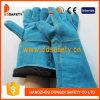 Голубая перчатка работы CE перчатки безопасности заварки Split кожи коровы (DLW624)