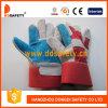 青い補強された皮手袋の赤い綿背部安全手袋(DLC320)