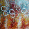 Het moderne Olieverfschilderij van Simple Abstract Circles op Canvas (links-229000)