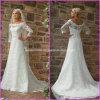 3/4 de vestido de casamento nupcial A78 do laço branco longo de Alencon das luvas