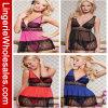 Cuatro colores más talla con ropa interior atractiva de la ropa de noche negra del cordón