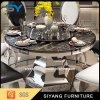 둥근 강화 유리 스테인리스 테이블